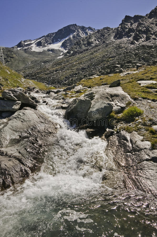 Val Thorens (2770 m.) stock foto