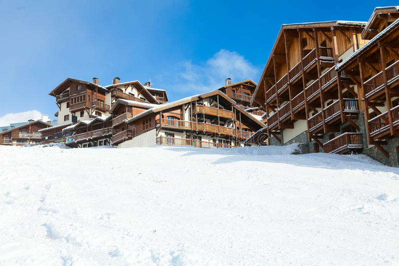 Val Thorens. Chalets in Val Thorens, trois vallees complex, France stock photos