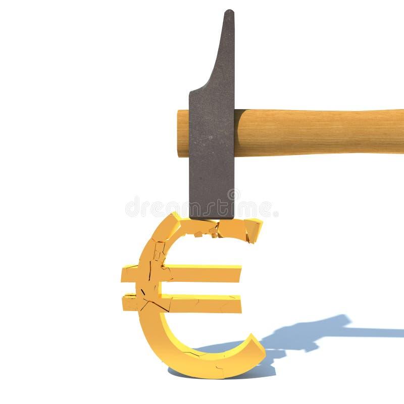 Val van de euro, verbrijzeling vector illustratie
