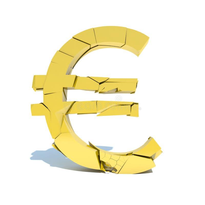 Val van de euro, verbrijzeling royalty-vrije illustratie