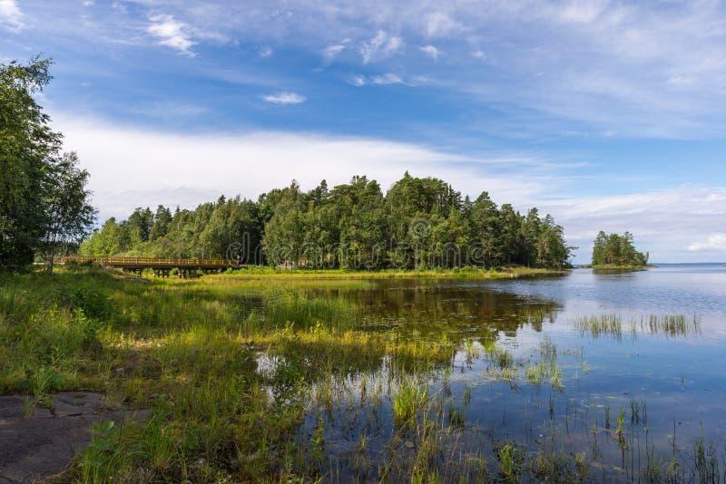 Valaam海岛风景在一个晴天 免版税库存图片