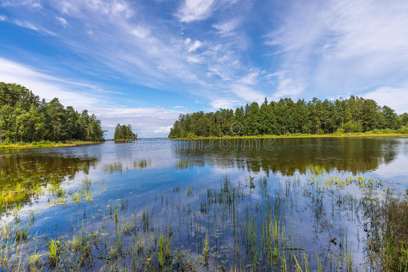 Valaam海岛风景在一个晴天 免版税库存照片