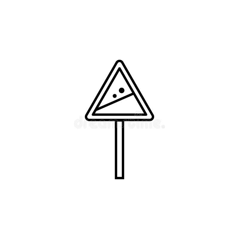 Valanga, segno, icona d'avvertimento del profilo Elemento dell'illustrazione degli sport invernali I segni e l'icona di simboli p illustrazione vettoriale