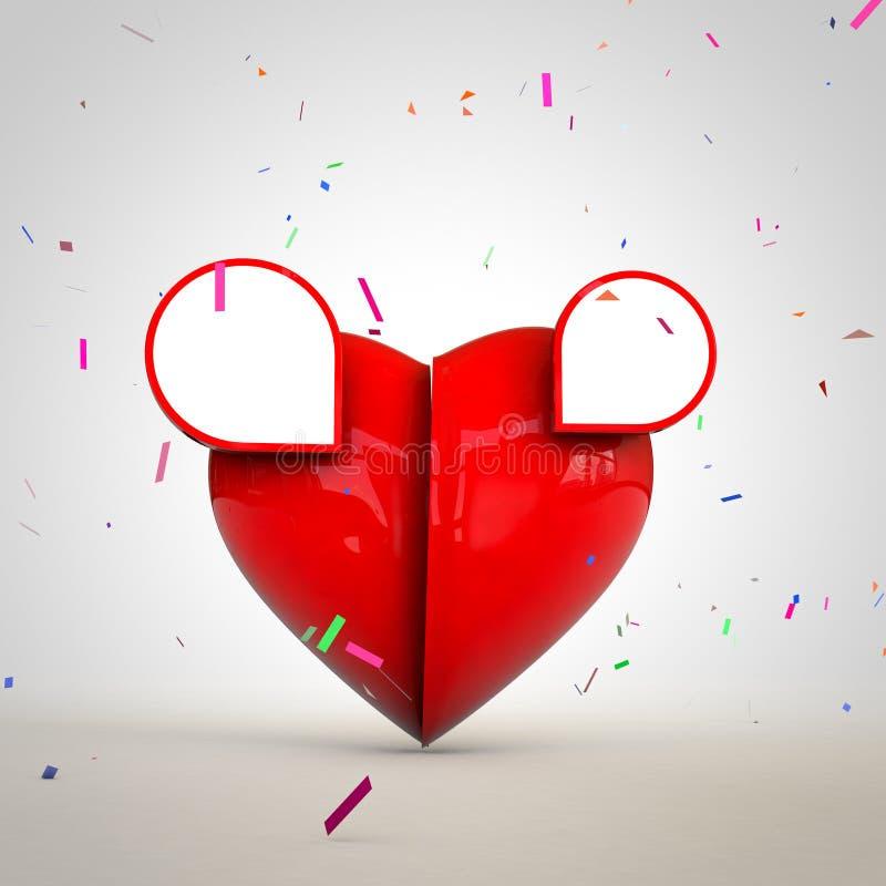 Valantine的心脏与文本广告和设计的空间 免版税库存照片