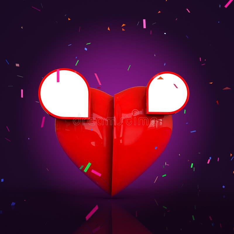 Valantine的心脏与文本广告和设计的空间 库存图片