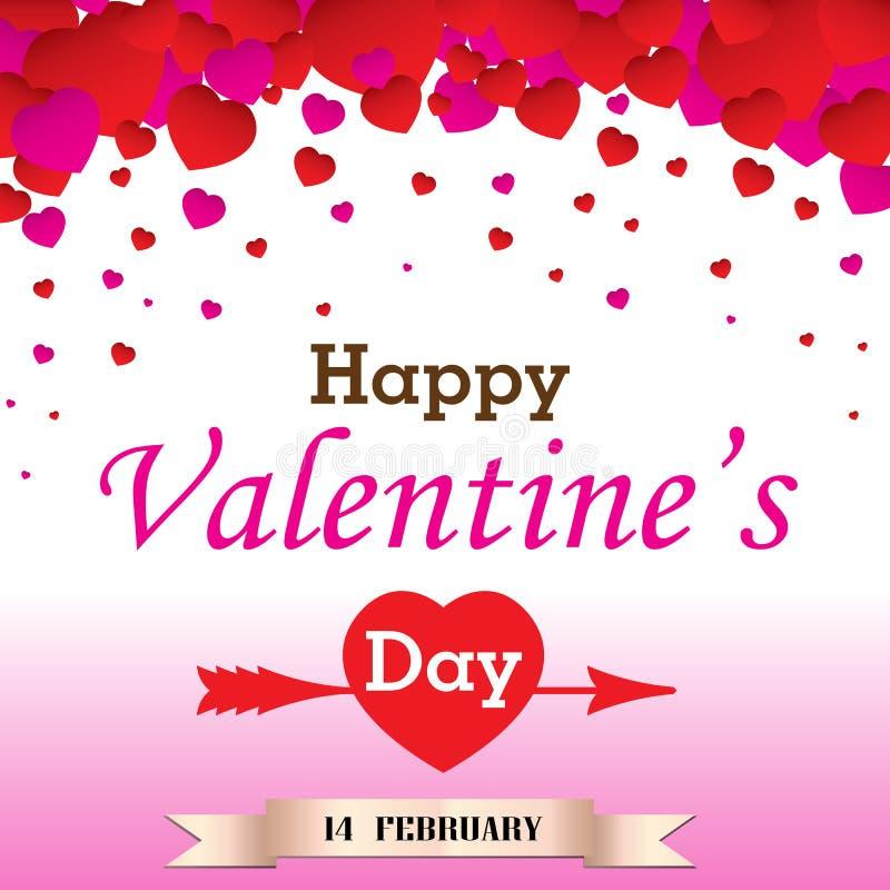 Valantine dag på vit och rosa bakgrund vektor illustrationer