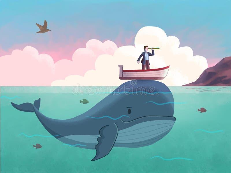 Valar som hjälper en man på en båt vektor illustrationer