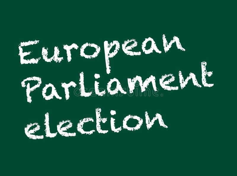 Valbegrepp Valparlamentval som är skriftligt på en svart tavla med krita Tillg?nglig vektor stock illustrationer