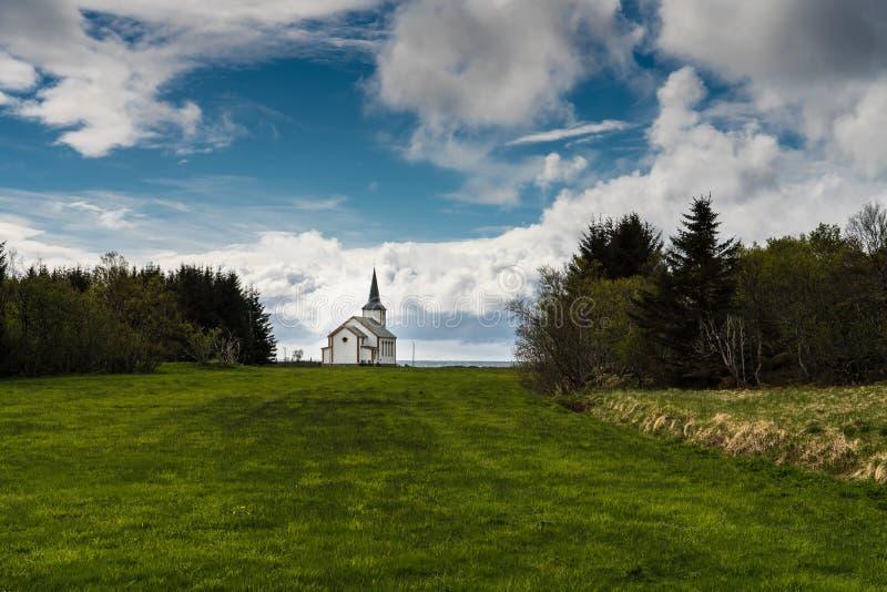 Valberg教会,罗弗敦群岛海岛,挪威 免版税库存照片