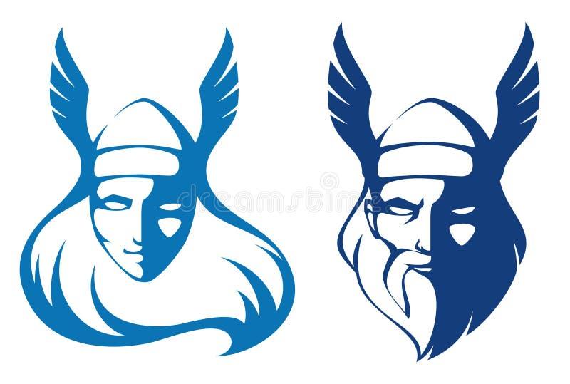 Valchiria ed il dio antico Odin illustrazione di stock