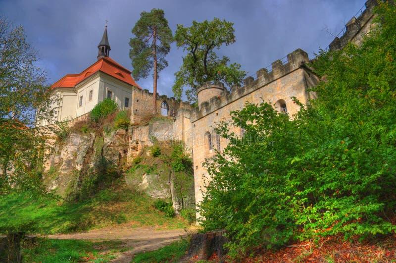 Valdštejn Castle, geopark Bohemian paradise, Czech Republic. Beautiful autumn picture with ancient, medieval castle Valdstejn and pines stock image