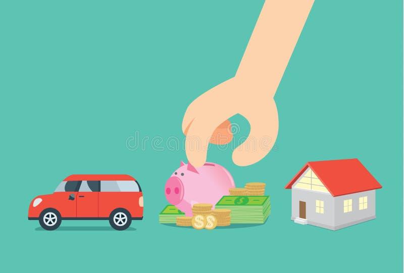 Valda sparande pengar från bilen och hus vektor illustrationer