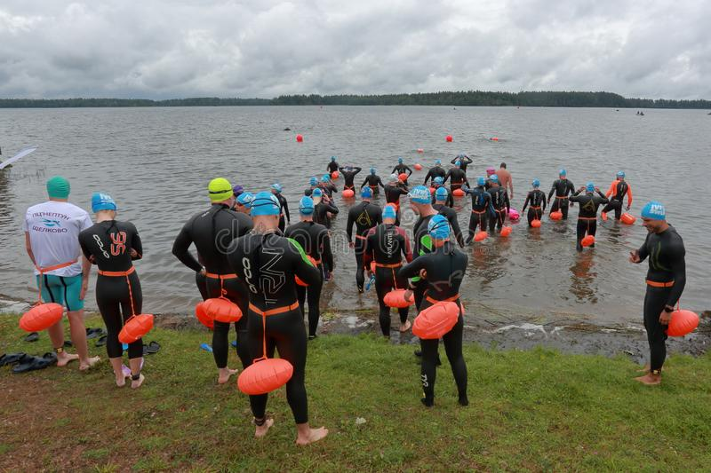 IVER SWIM 2019. VALDAI, RUSSIA-AUGUST 3, 2019. Preparation for the start of the open water swim `Iverskaya Mile` 2019 royalty free stock image