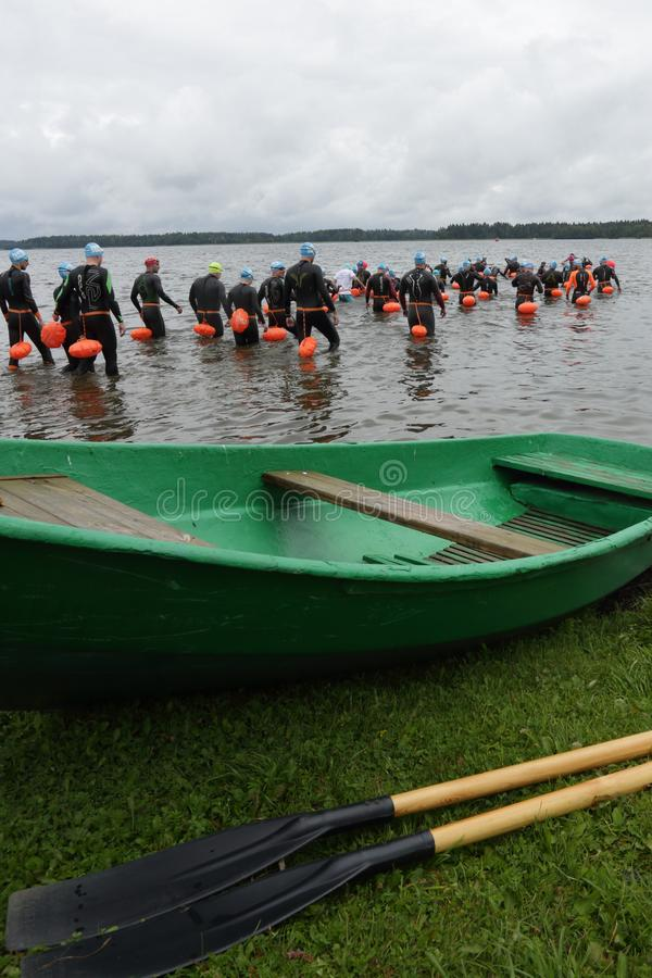 IVER SWIM 2019. VALDAI, RUSSIA-AUGUST 3, 2019. Preparation for the start of the open water swim `Iverskaya Mile` 2019 royalty free stock photography