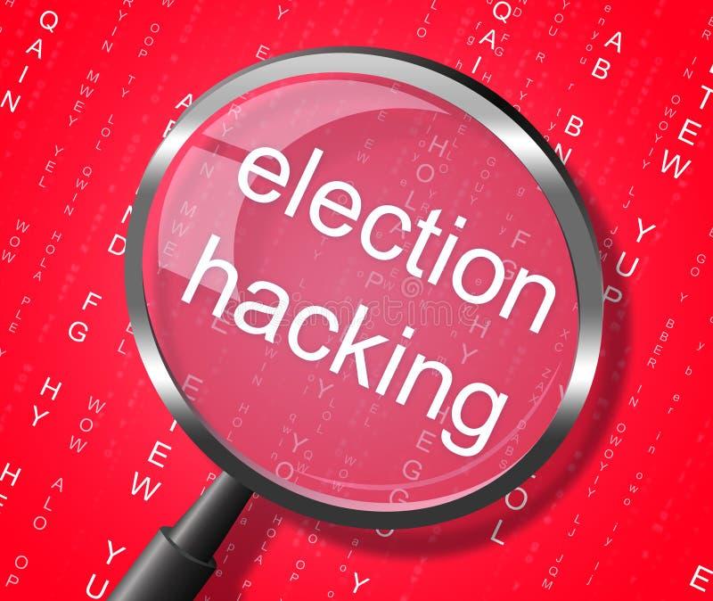 Valdataintrångförstoringsapparaten visar val hackad 3d Illustratio vektor illustrationer