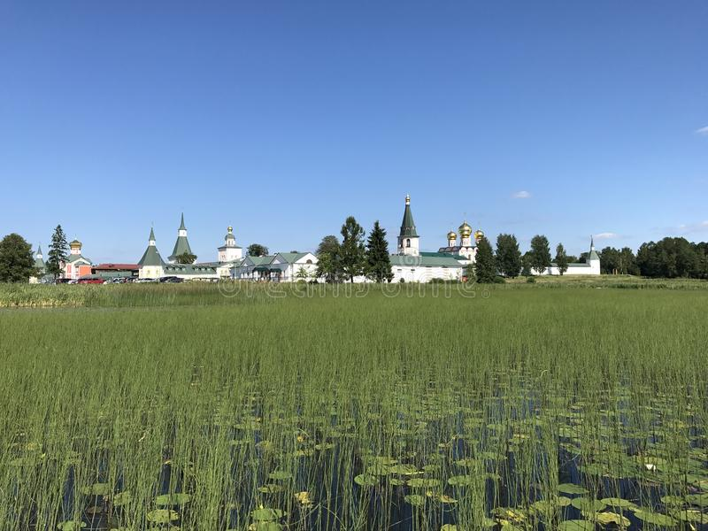 Valday region in central Russia. Summertime, peaceful nature and churches royalty free stock images