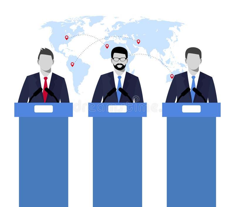 Valdebatter, tvist, social diskussion illustrationbegreppsillustration av högtalare politikar valet debatterar conc vektor illustrationer