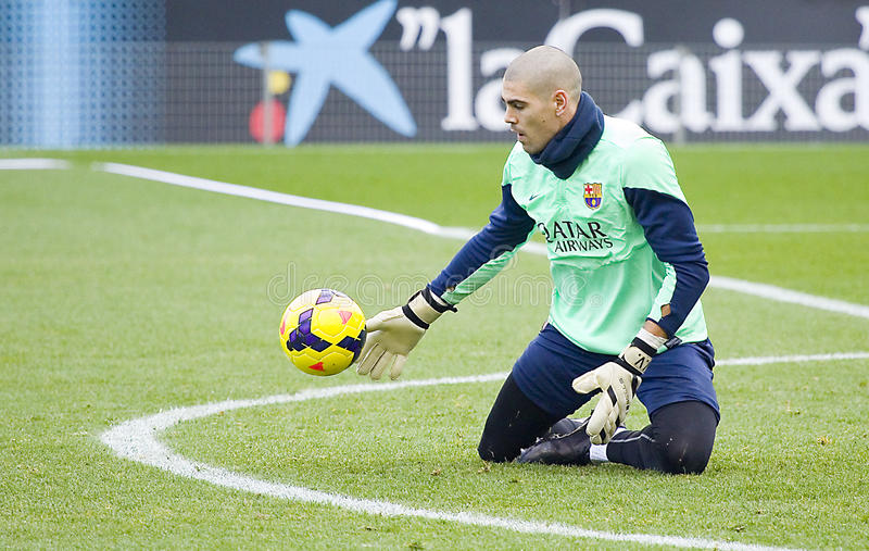 Valdes at FC Barcelona training session stock image