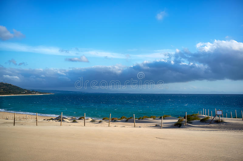 Valdevaqueros海滩。塔里法角,卡迪士,西班牙 库存照片