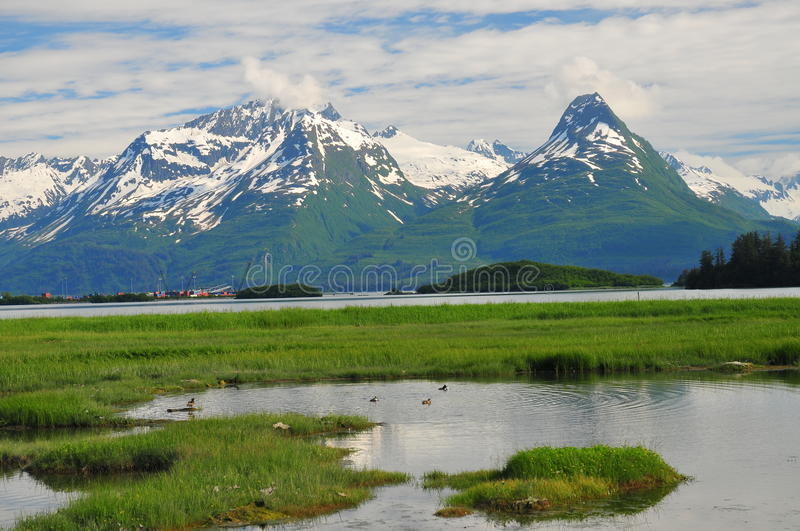 Valdez Mountains. This is part of the mountain range leading into Valdez, Alaska royalty free stock photography