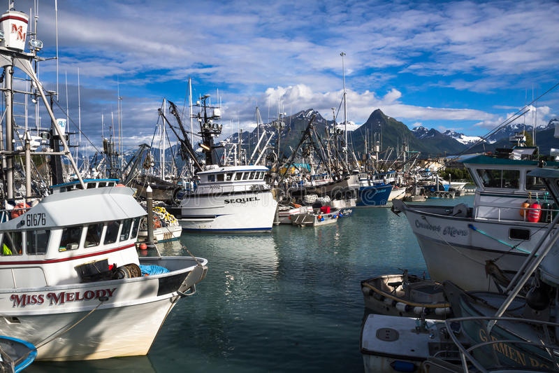 Valdez Small Boat Harbor. Fishing Vessels with gear royalty free stock image