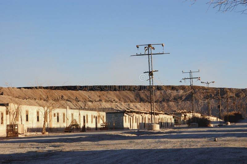 被放弃的镇在阿塔卡马沙漠,智利 库存图片