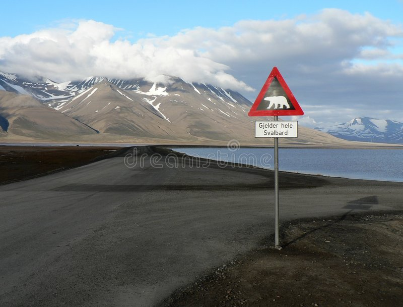 Vale ártico Adventdalen, Svalbard fotografia de stock