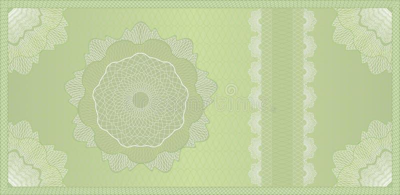 Vale, billete de banco o certificado del guilloquis ilustración del vector