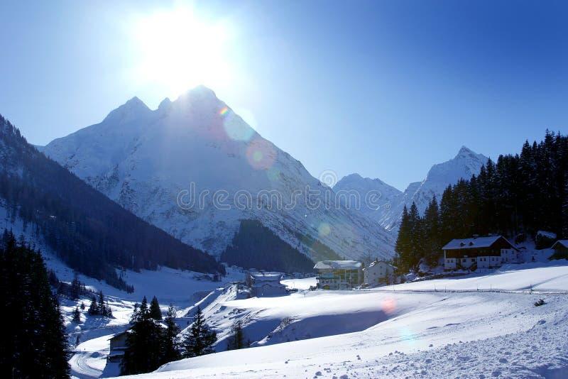 Vale da montanha de Ischgl Áustria fotografia de stock royalty free