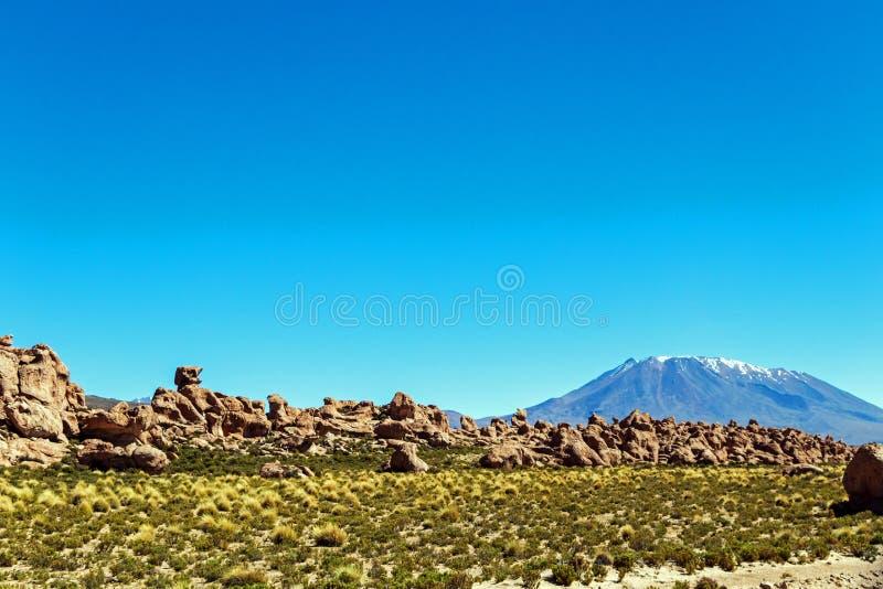 Vale das rochas no Altiplano de Bolívia, Ámérica do Sul fotos de stock royalty free