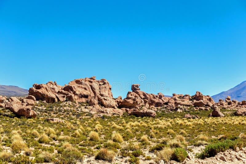 Vale das rochas no Altiplano de Bolívia, Ámérica do Sul fotografia de stock