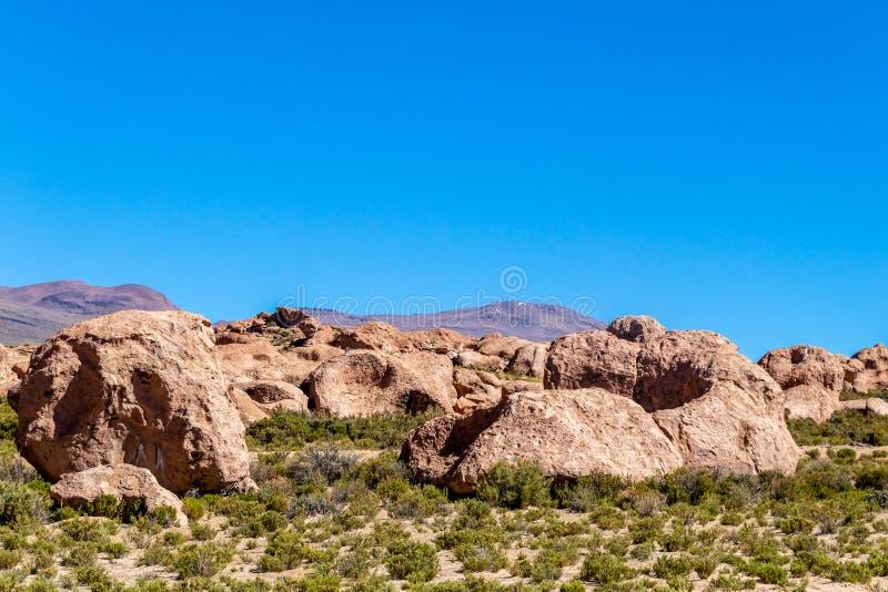 Vale das rochas no Altiplano de Bolívia, Ámérica do Sul imagens de stock royalty free