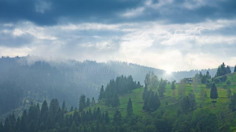 Vale de Carpatian com montes verdes e horizonte enevoado foto de stock royalty free