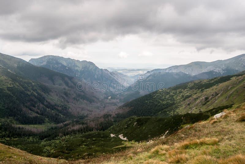 Vale de Dolina Pysznianska e de Dolina Koscieliska com picos ao redor do sedlo de Pysne em eslovaco - beiras polonesas em Tatra o fotografia de stock