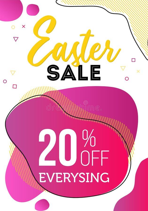 Vale de la venta al día de Pascua, a la plantilla del negocio con formas líquidas y a los elementos geométricos en fondo fotografía de archivo