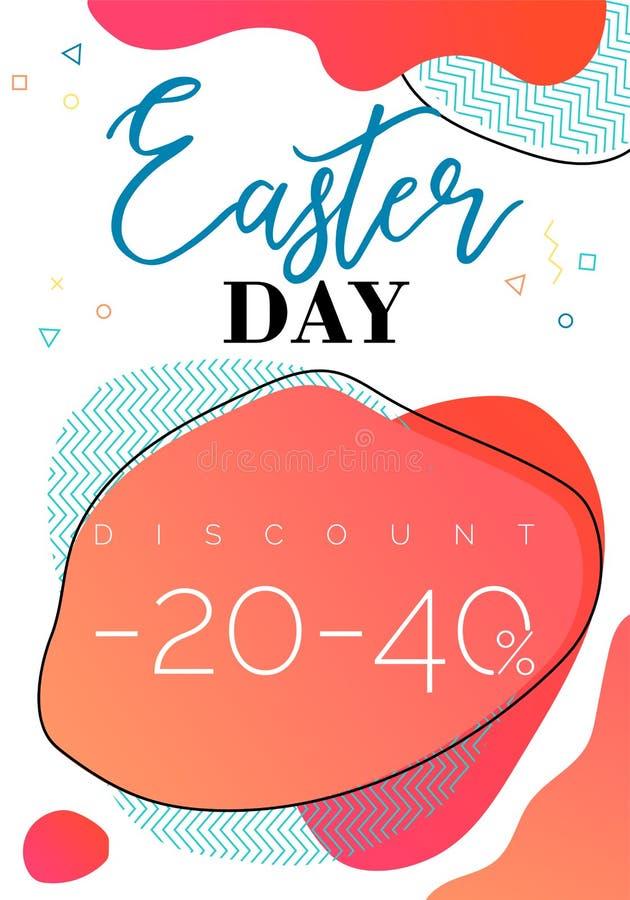 Vale de la venta del día de Pascua, formas líquidas de la dual-pendiente con los elementos geométricos en fondo imágenes de archivo libres de regalías