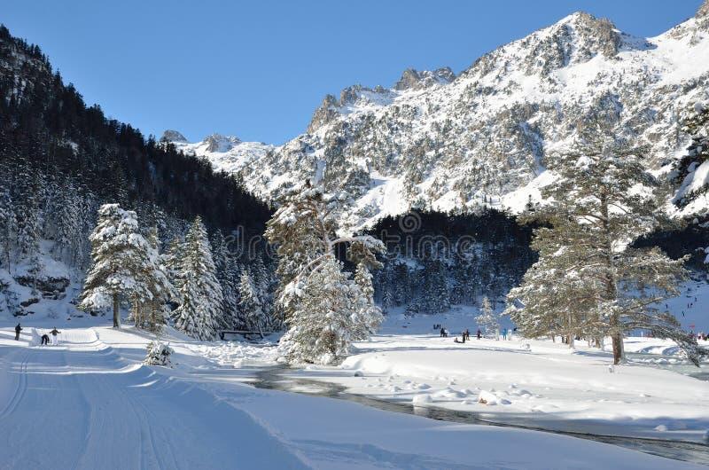 Vale de Marcadau no inverno fotos de stock royalty free