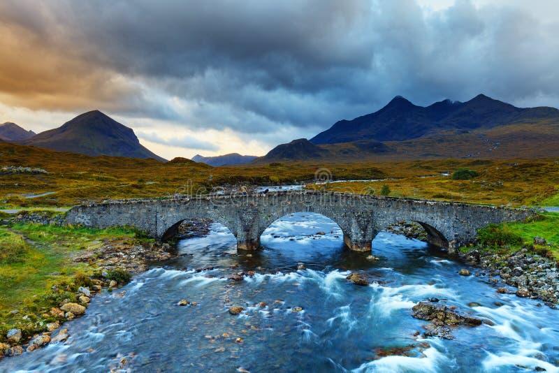 Vale de Sligachan, montanha de Marsco, Skye, Hebrides interno nas montanhas, Escócia imagem de stock