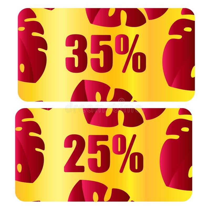 Vale del descuento, vector del vale Plantilla del fondo con el oro, fondo rojo, modelo moderno de las hojas Ahorre la etiqueta 35 libre illustration