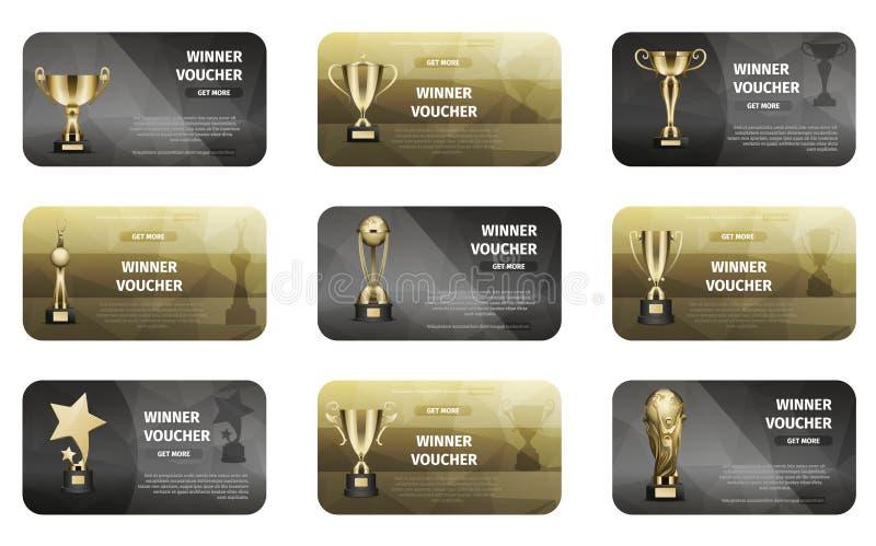 Vale del ganador fijado en de oro y colores plata stock de ilustración