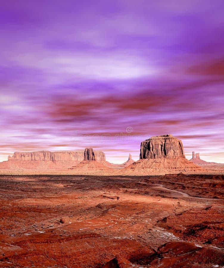 Vale do monumento dos céus do por do sol fotos de stock