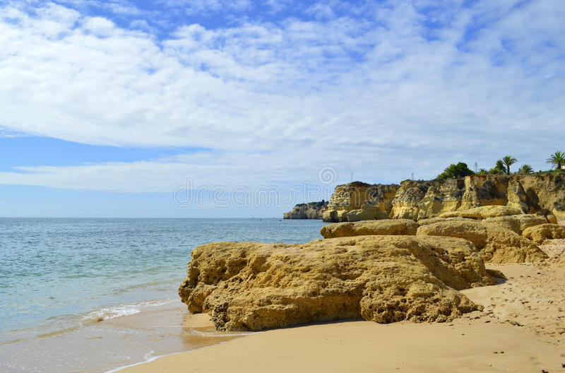 Vale Do Olival Beach Rock formation. In Portugal royalty free stock image