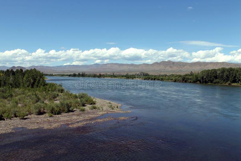 Vale do Rio Ienissei, Sibéria do sul República de Tuva Autumn Landscape fotografia de stock royalty free