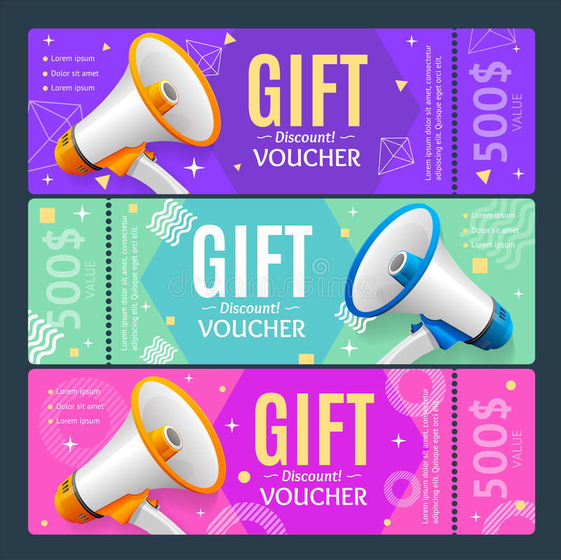 Vale do valor monetário do molde do grupo de cartão do comprovante de presente Vetor ilustração royalty free
