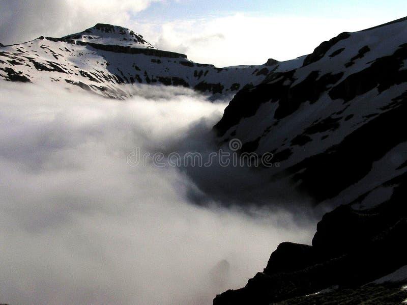 Vale do veado na névoa - montanhas de Bucegi foto de stock royalty free