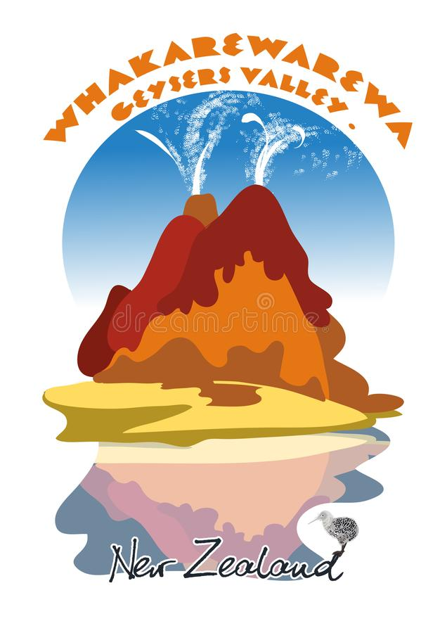 Vale dos geysers ilustração royalty free