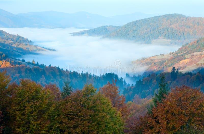 Vale enevoado da montanha da manhã do outono fotografia de stock royalty free