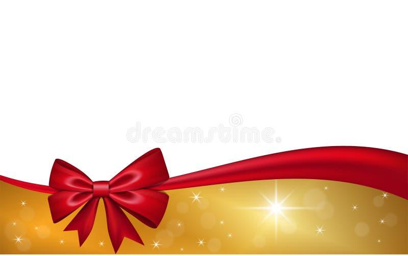 Vale-oferta do ouro com a curva vermelha da fita, isolada no fundo branco As estrelas da decora??o projetam para o feriado do Nat ilustração stock