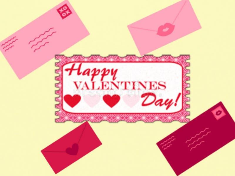 Vale-oferta feliz do dia de Valentim, projeto e quatro envelopes do amor, vetor ilustração royalty free