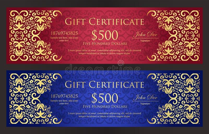 Vale-oferta vermelha e azul luxuosa com vintage ilustração royalty free